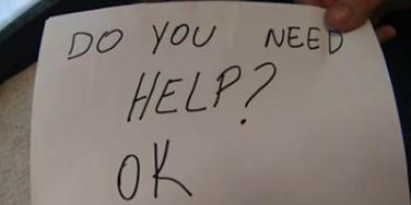 """Do You Need Help? Ok"" sign"