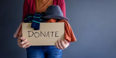 woman donating clothes