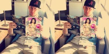 Channing Tatum reading Cosmopolitan