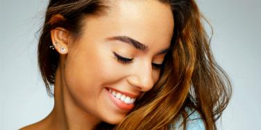 smiling woman eyebrows