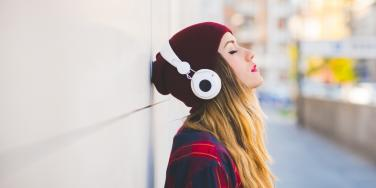 relaxed woman with headphones
