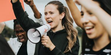 women at a protest