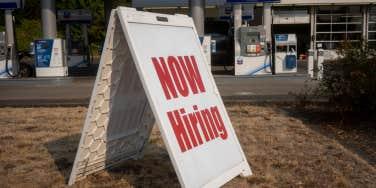 Chevron 'Now Hiring' sign