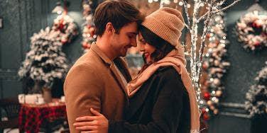couple embracing holidays