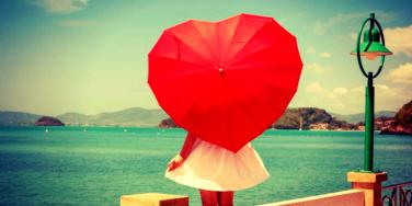 girl with heart-shaped umbrella