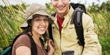 a couple hiking