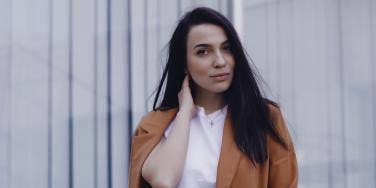 woman wearing a blazer