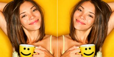 woman smiling coffee cup
