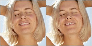 blond woman smiling hands on head