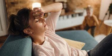 tired woman languishing