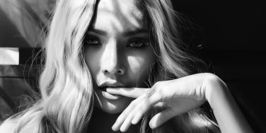 black and white photo of blonde sexy woman