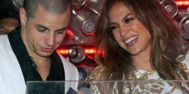 Jennifer Lopez and Casper Smart laughing