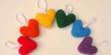 plush heart ornaments