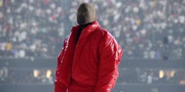 Kanye West wearing Donda mask