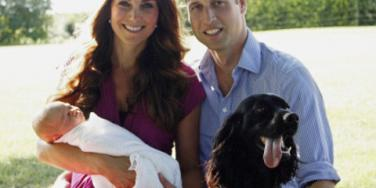 Kate Middleton (Duchess Catherine) with Prince William (Duke of Cambridge), royal baby Prince George and dog Lupo