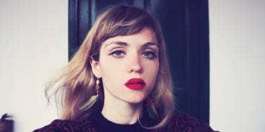 sad woman in makeup
