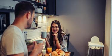 man and woman having coffee