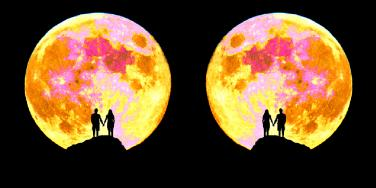 couple under full moon
