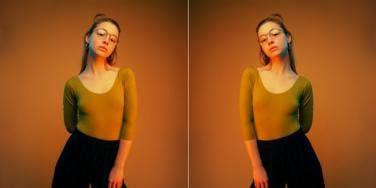 woman in orange light leotard