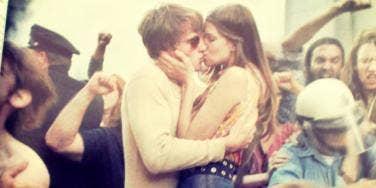 vintage couple kiss