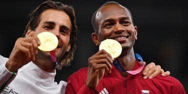 Gianmarco Tamberi Mutaz Essa Barshim Share Gold Olympics