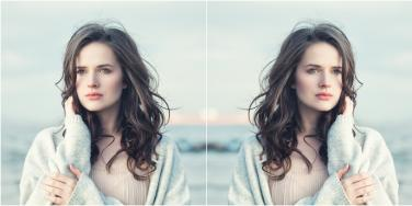mirrored image of windswept woman