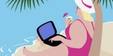 overweight woman computer island beach