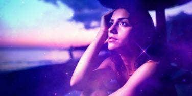woman watching the Perseid meteor shower