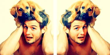 men and puppies