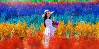 woman in a rainbow field