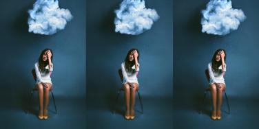 girl with cloud above her head