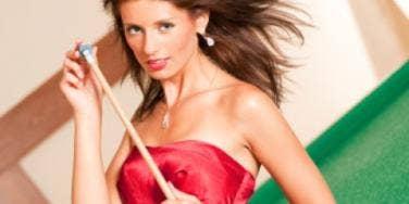 red dress brunette