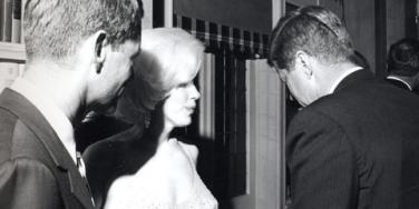 "Robert Kennedy, Marilyn Monroe and John F. Kennedy (JFK) after Monroe sang ""Happy Birthday Mr. President"""