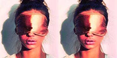 girl wearing sleep mask