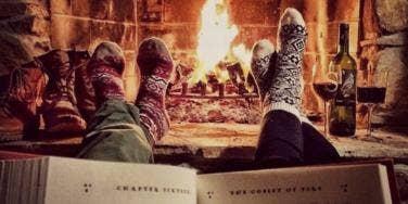 christmas socks fire