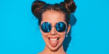 woman with tongue out