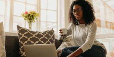 woman working from home avoiding burnout