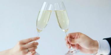 bridge and groom making a toast