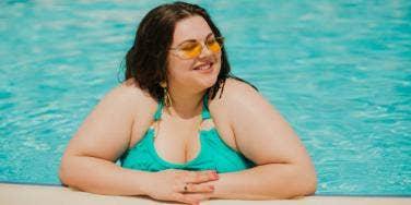 plus size woman in pool
