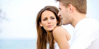 woman staring at man