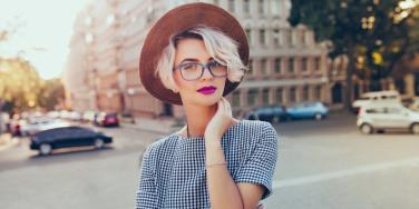 woman in glasses on street