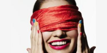 woman smiling blindfold