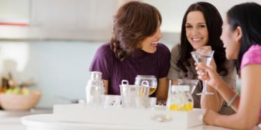 female friends talking and laughing