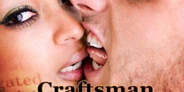 man biting woman's face