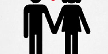 heart between cartoon couple