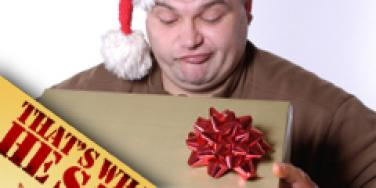 disappointed man looking at gift