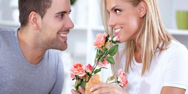 couple with rose.
