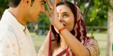 Indian couple flirting