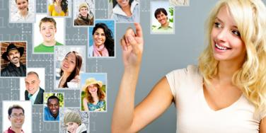 woman pointing to pictures