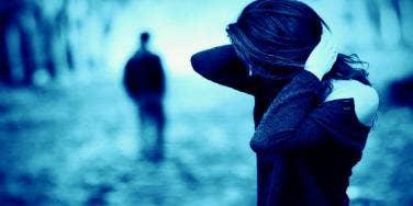 man walking away from sad woman